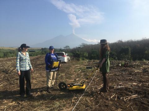 Students learning to use ground-penetrating radar in Guatemala
